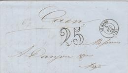 France Lettre Taxée 25 Le Mans 1853 - Marcophilie (Lettres)