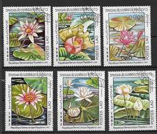 LAOS  1982 FIORI NINFEE YVERT. 388-393 USATA VF - Laos
