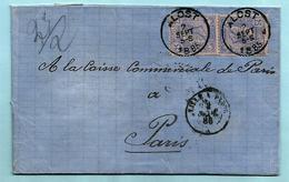 N°48 (x2) Op Brief Met Inhoud, Afst. ALOST 02/09/1885 Naar PARIS, Afz.: Cumont-Declercq - 1884-1891 Léopold II