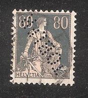 Perfin/perforé/lochung Switzerland No YT166 1918 Hélvetie Assise Avec épée  TOBLER - Perforés