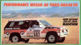 NISSAN PARIS DAKAR 1988 DESSOUDE LERAN * AUTO RALLYE RACING * AUTOCOLLANT A1699 * - Autocollants