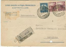 GALIZIA E FIGLIO -CASTROVILLARI (COSENZA)-CARTOLINA COMMERCIALE RACCOMANDATA,1950,POSTE CASTROVILLARI,LENDINARA (ROVIGO) - Italie