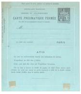 PARIS Carte Lettre Pneumatique 50 C Chaplain Rebuts 6 Lignes Avis Au Verso Date 705 Yv CLPP 2550 Storch E16 Charnières - Entiers Postaux