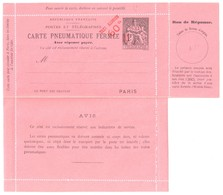 PARIS Carte Lettre Pneumatique Réponse 60c/1F Chaplain 5 Lignes Au Verso Bon Perforé Yv CLPP 2589 Storch L24 - Entiers Postaux