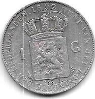 Netherlands 1 Gulden 1892 Km 117 - [ 3] 1815-… : Kingdom Of The Netherlands