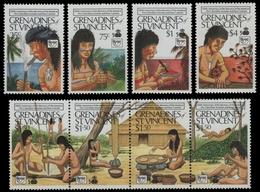 St. Vincent-Grenadinen 1989 - Mi-Nr. 644-647 & 648-651 ** - MNH - Ureinwohner - St.Vincent Und Die Grenadinen