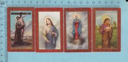 Image Pieuse Religieuse Chromo Et Dorée - Lot De Quatres Minies, Santini, Holy Card - Devotion Images