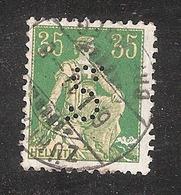 "Perfin/perforé/lochung Switzerland No YT122 1908 Hélvetie Assise Avec épée  S ""Schweiz"" Allgemeine Versicherungs - Perforés"