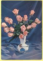Tematica - Fiori - Rose - Vaso Con Mazzo Di Rose - Bonne Fête - Not Used - Roses