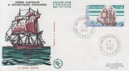 Enveloppe  1er  Jour   T.A.A.F    Voilier   LE  GROS  VENTRE   1988 - FDC