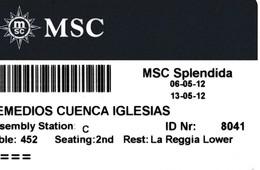 ITALY, CRUISER CABIN KEY CARD. MSC SPLENDIDA. YEAR 2012. (022). - Hotel Keycards