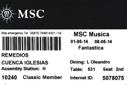 ITALY, CRUISER CABIN KEY CARD. MSC MUSICA. YEAR 2014. (021). - Cartes D'hotel