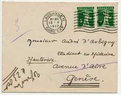 SCHWEIZ 1909 Nr 113III BRIEF MEF X6B6BE6 - Suisse