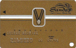 Sands Casino - Atlantic City, NJ - 9th Issue Slot Card With SC95 & Small Medal - Casino Cards