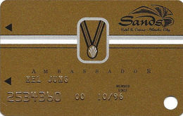 Sands Casino - Atlantic City, NJ - 9th Issue Slot Card With S96 & Small Medal - Casino Cards