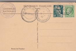 1947 - Cachet PARLEMENT - CONGRES DE VERSAILLES  Sur CPA PARLEMENT - Bureau Du Président - Cachets Manuels