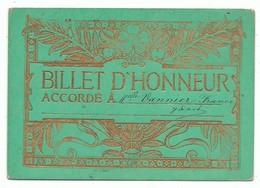 Billet D' Honneur Vert  France Non Daté Gaufré Et Rehaussé De Dorure Et Feuille D'or - Diplômes & Bulletins Scolaires