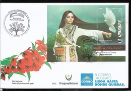 URUGUAY 2018 PALESTINE ADMISSION,BIRD,PEACE,COSTUMES BLOC S/SHEET FDC - Uruguay