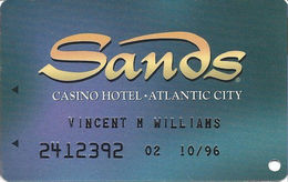 Sands Casino - Atlantic City, NJ - Slot Card With Embossed Player Info - Casino Cards
