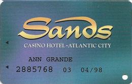 Sands Casino - Atlantic City, NJ - Slot Card With Printed Player Info - Casino Cards