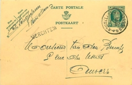 Belgique.  CP 83 I  Bruxelles 4 > Antwerpen  1930   Griffe  Merchtem - 1922-1927 Houyoux