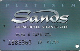 Sands Casino - Atlantic City, NJ - Platinum Slot Card With Embossed Player Info - Casino Cards