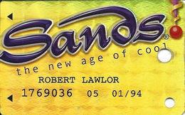 Sands Casino - Atlantic City, NJ - BLANK Metallic Slot Card With Printed Player Info - Casino Cards