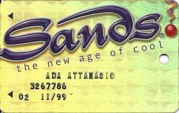 Sands Casino - Atlantic City, NJ - Metallic Slot Card With Embossed Player Info - Casino Cards