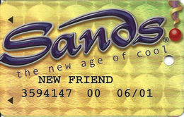 Sands Casino - Atlantic City, NJ - Temp Metallic Slot Card With Chinese Text On Back & FRIEND - Casino Cards