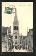 CPA Tours-sur-Marne, L`Église, Des Enfants Vor Der L'Église - France