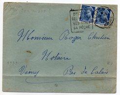 """1938-lettre De DECIZE-58 Pour VIMY-62-Daguin""""Ses Ruines,Sites,Pêche""""type Mercure(Paire 414A Horizontale Seul Sur Lettre) - Marcophilie (Lettres)"""