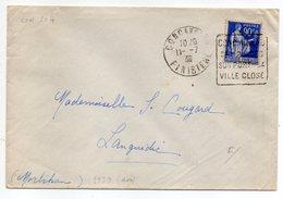"""1938-lettre De CONCARNEAU-29 Pour LANGUIDIC-56-Daguin""""Plage,Port,Ville Close """"type Paix - Marcophilie (Lettres)"""