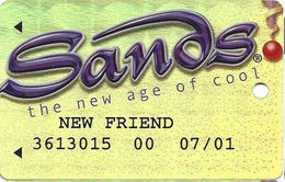 Sands Casino - Atlantic City, NJ - Temp Metallic Gold Slot Card With WHITE Reverse - New Friend - Casino Cards