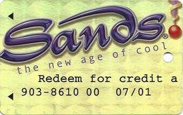 Sands Casino - Atlantic City, NJ - Temp Metallic Gold Slot Card With WHITE Reverse - Redeem For Credit - Casino Cards