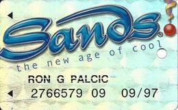 Sands Casino - Atlantic City, NJ - Metallic Silver Slot Card With WHITE Reverse - Casino Cards