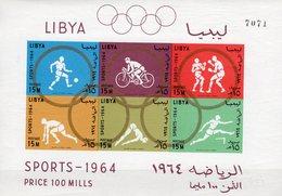 Olympia 1964 LIBYEN Block 8B ** 15€ Fußball Boxen Sprint Hb Summer-Olympic Games Tokyo Sport Ss Bloc Sheet Olympics - Summer 1964: Tokyo