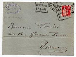 """1933-lettre De AIGUES-MORTES-30 Pour NIMES-30 -Daguin""""Le Bon Vin Donne Force Et Santé """"type Paix-dos Cachet Vin - Postmark Collection (Covers)"""