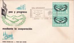 FDC 1966. PAZ Y PROGREZO MEDIANTE LA COOPERACION. STAMP A PAIR. URUGUAY - BLEUP - Uruguay