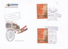 OBLITEREE FERIA DEL LIBRO TANDIL 2008, 100 AÑOS BIBLIOTECA B.RIVADAVIA-INMIGRANTES EN LA ARGENTINA III. FDC - BLEUP - FDC