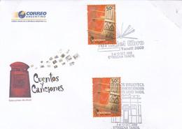 OBLITEREE FERIA DEL LIBRO TANDIL 2008, 100 AÑOS BIBLIOTECA B.RIVADAVIA-CUENTOS Y CANCIONES FDC - BLEUP - FDC