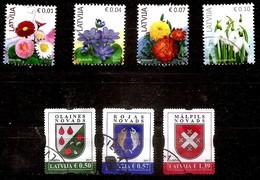 2017 Latvia Lettland Lettonie  Coat Of Arm + Flower  Full Year Set 7 Stamps  USED (0) - Latvia