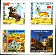TUNISIA-2002- SWORD-HORSE RIDING-WILD LIFE-ARCHAEOLOGY-SAHARAN DESERT-PALM TREES-IMPERF SETENANT BLK OF 4-MNH-B3-875 - Tunisie (1956-...)