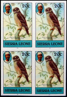 SIERRA LEONE 1980 African Wood Owl Birds 20c Imp.1983 No Wmk IMPERF.4-BLOCK - Sierra Leone (1961-...)