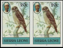 SIERRA LEONE 1980 African Wood Owl Birds 20c Imp.1983 No Wmk IMPERF.PAIR - Sierra Leone (1961-...)