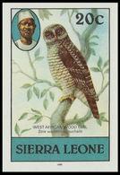 SIERRA LEONE 1980 African Wood Owl Birds 20c Imp.1983 No Wmk IMPERF - Sierra Leone (1961-...)