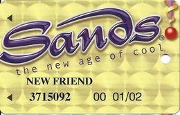 Sands Casino - Atlantic City, NJ - Plain Front Slot Card With WHITE Reverse - NEW FRIEND - Casino Cards