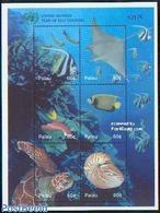 Palau 2002 Eco Tourism 6v M/s, (Mint NH), Nature - Reptiles - Shells & Coral - Fish - Turtles - Palau
