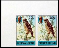 SIERRA LEONE 1980 African Wood Owl Birds 20c Imp.1982 Wmk CA CORNER.IMPERF.PAIR - Sierra Leone (1961-...)