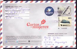 ECUADOR 2012 POSTAL STATIONARY COVER TO ITALY WOMEN LETTER + MARIMBA INSTRUMENT OF AFRICAN DESCENDENT - Equateur