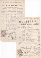77 MEAUX - Lot De 2 Factures Pour Mr FRANCOURT à OISSERY, De La Fabrique De Confiserie HOUSSEAU, 25 Fbg Saint-Nicolas - Meaux